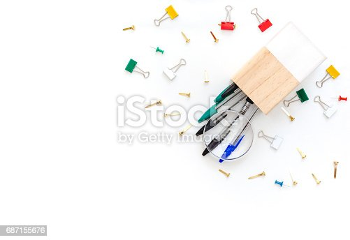 istock School or office supplies on a white background. Flat lay. Office desk table 687155676