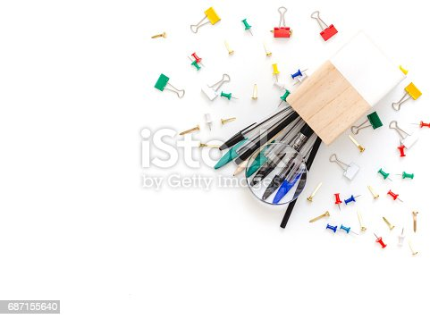 istock School or office supplies on a white background. Flat lay 687155640
