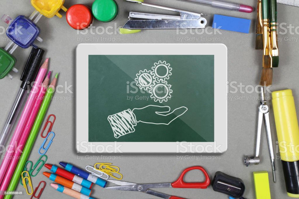 School or office supplies with digital tablet stock photo