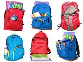 Colorful school supplies in backpack, collage on