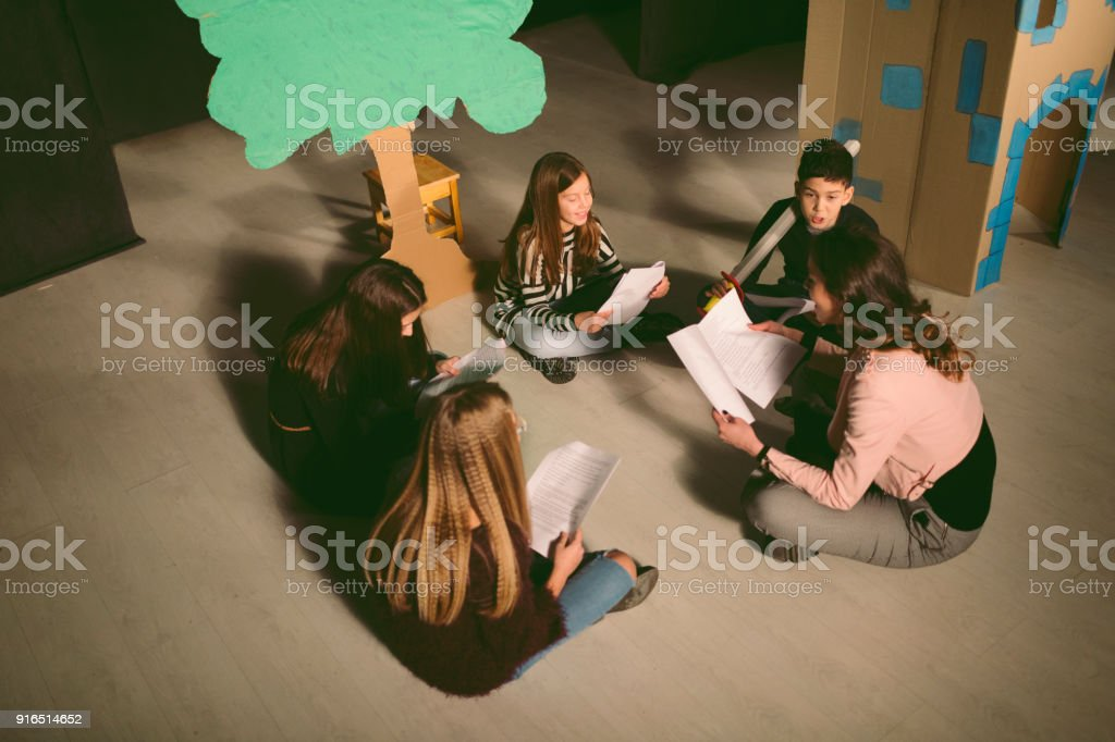 School Play Rehearsal stock photo
