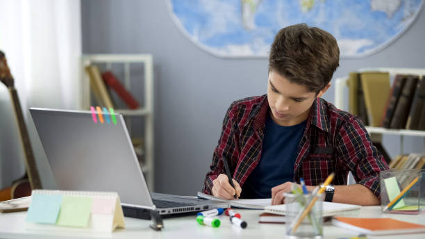 School pupil writing notebook doing home work at table, distance education School pupil writing notebook doing home work at table, distance education schoolboy stock pictures, royalty-free photos & images