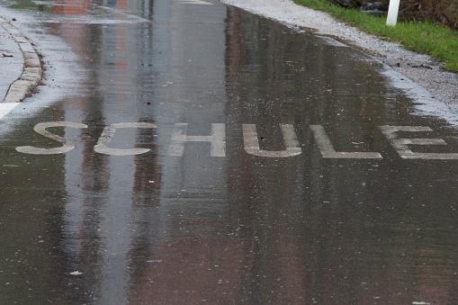 school route marking in german (Schule) on the road