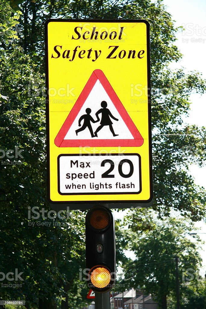 school safety zone sign royalty-free stock photo