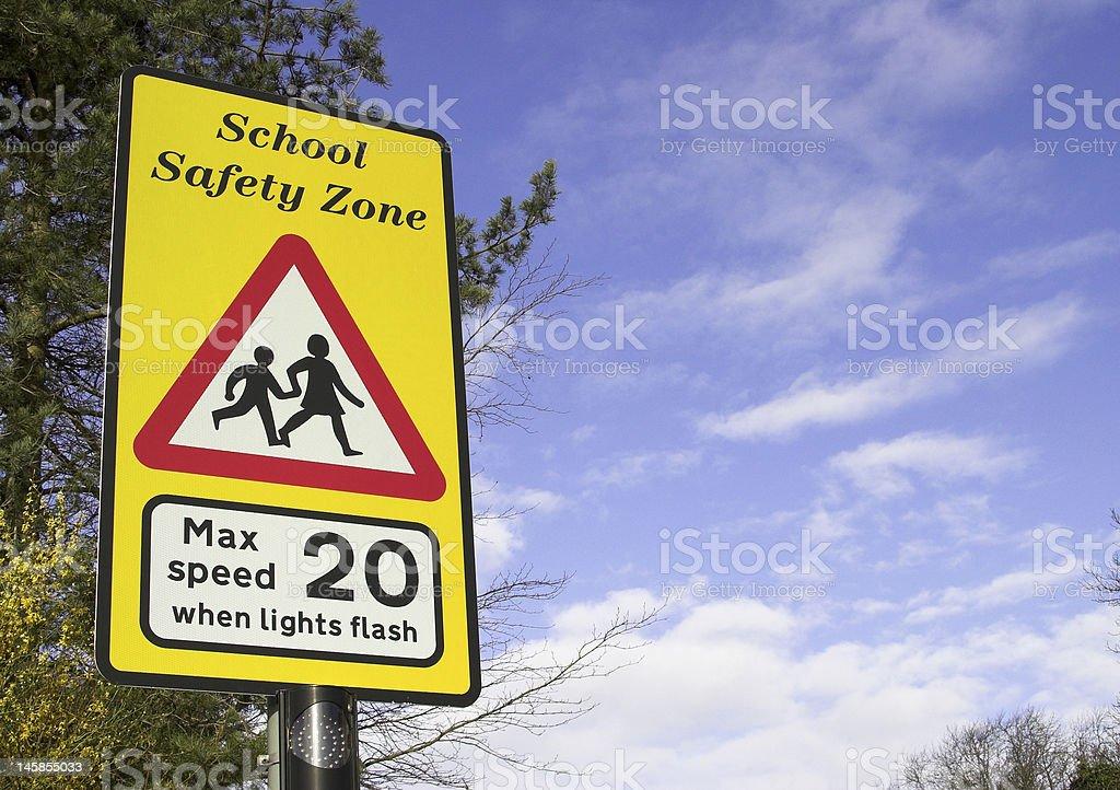 School Safety Zone Warning Sign stock photo