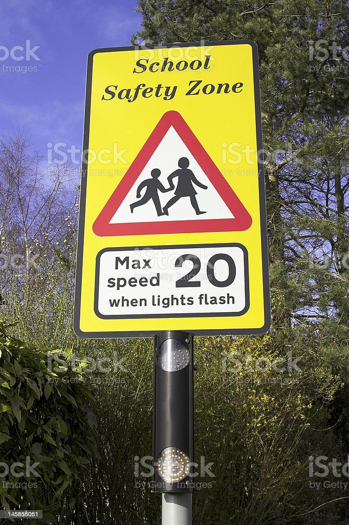 School Safety Zone Warning Sign royalty-free stock photo