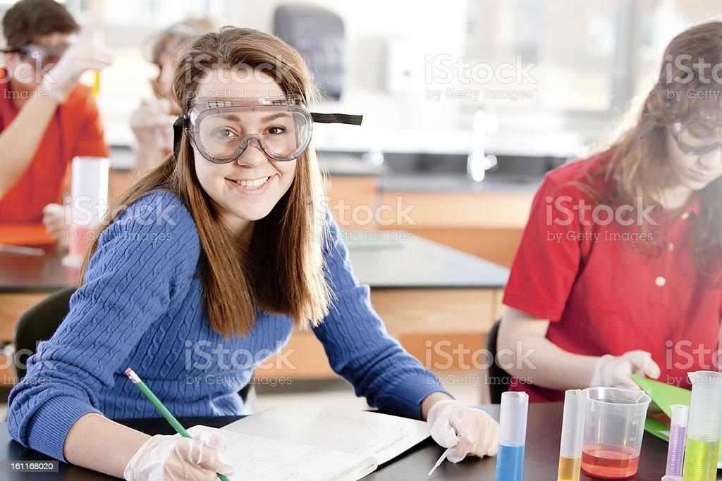 School Science: Caucasian Students Learning Chemistry Classroom royalty-free stock photo