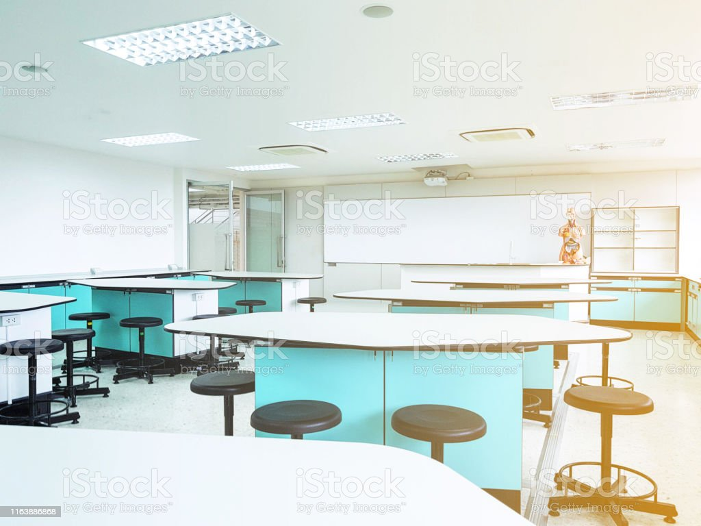 School science lab classroom in blur background without young...