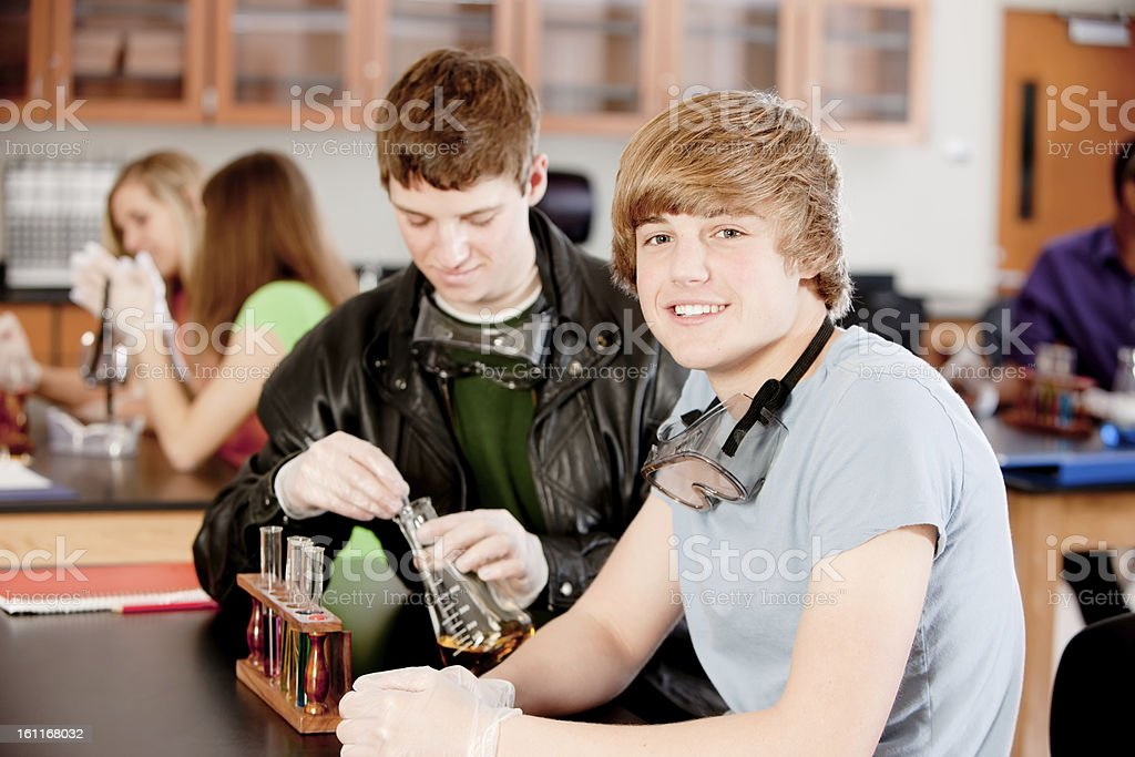 School Science: Students Learning Chemistry Classroom Education royalty-free stock photo
