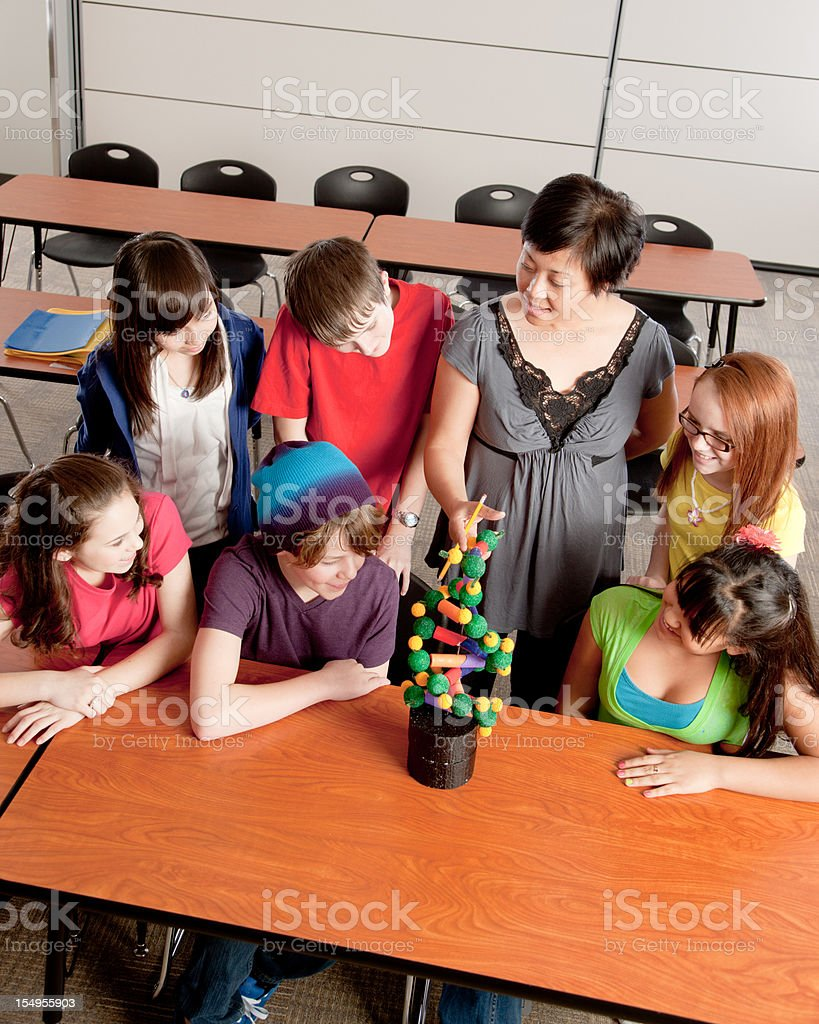 School Science: Students Study DNA in the Classroom with Teacher royalty-free stock photo