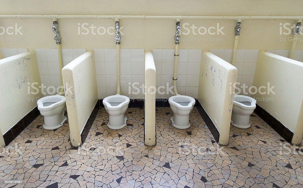 School shared toilets School shared toilets Abandoned Stock Photo