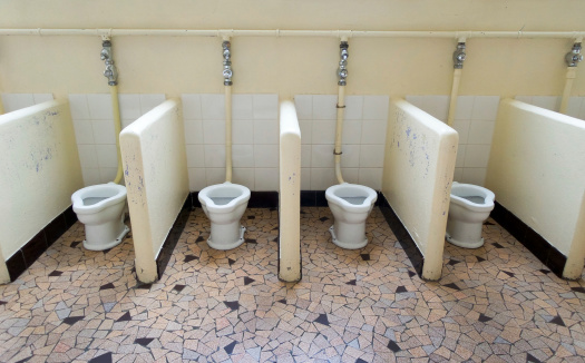 School Shared Toilets Stock Photo - Download Image Now