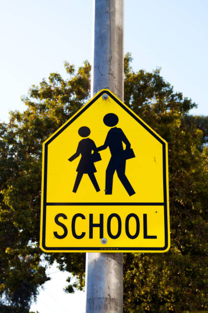 School Sign School Sign on a street with green tree background time zone stock pictures, royalty-free photos & images