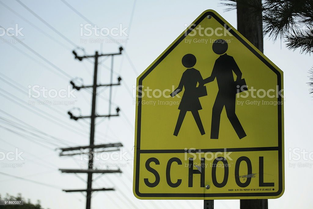 School sign with electricity lines in background stock photo