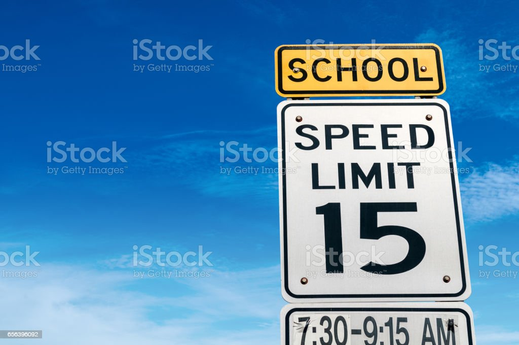 School speed warning stock photo
