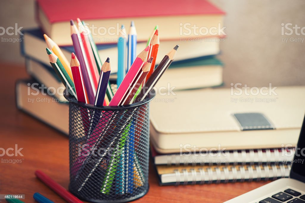 school stationary stock photo