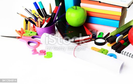 istock School stationery isolated over white with copyspace 941264814