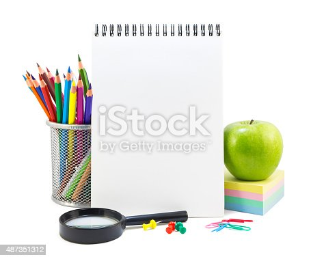 istock School stationery on a white 487351312