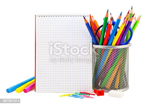 istock School stationery on a white 487351314