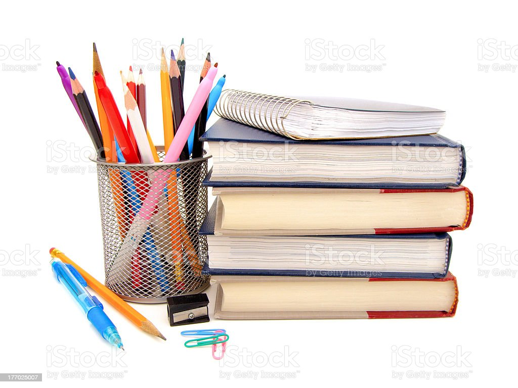 School supplies and stack of textbooks over white royalty-free stock photo