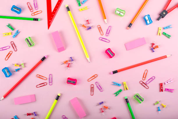School supplies background School supplies background on pastel pink color background school supplies border stock pictures, royalty-free photos & images