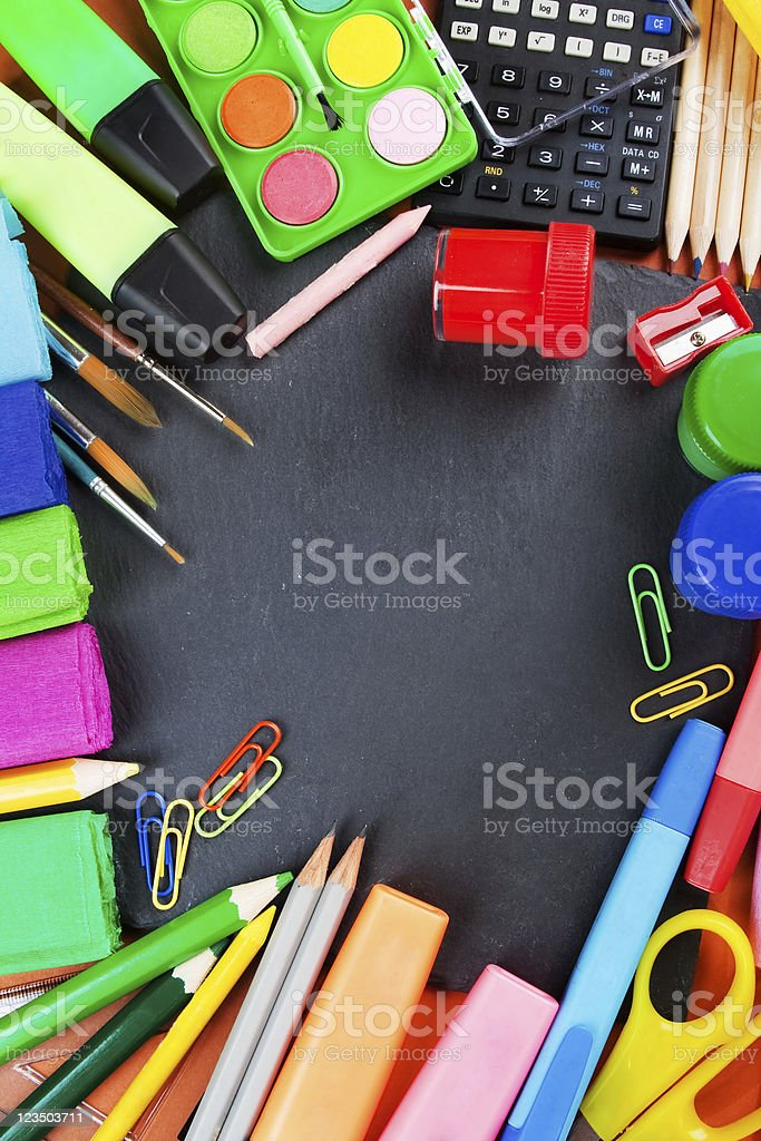 School supplies, background with copy space royalty-free stock photo