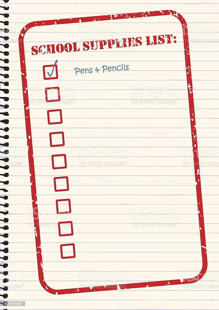 School Supplies Checklist Vector stock photo