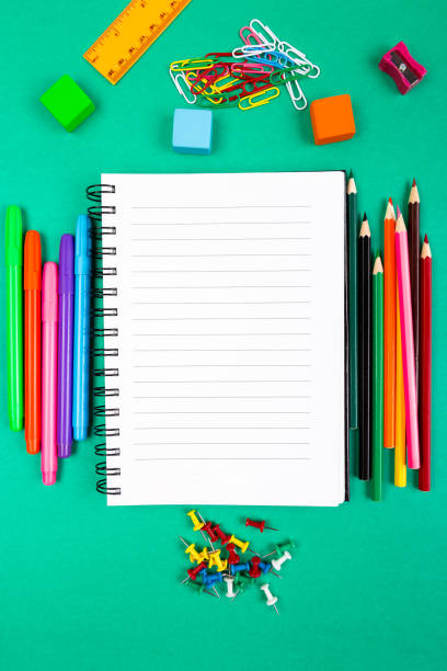 School Supplies. Concept Back to School. Top View. Flat Lay. stock photo