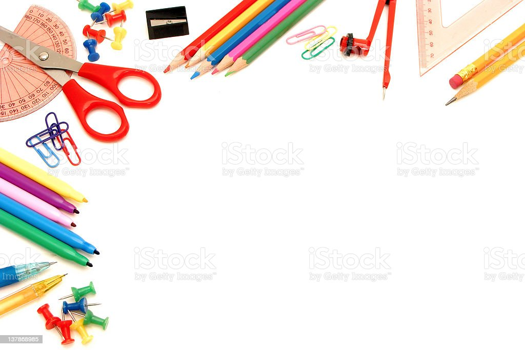 School supplies corner border stock photo