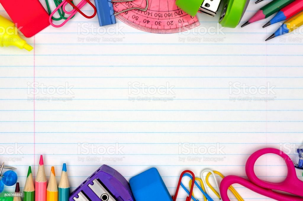 School Supplies Double Border On Lined Paper Background Royalty Free Stock  Photo  Line Paper Background