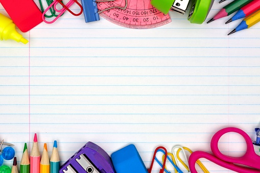 School Supplies Double Border On Lined Paper Background ...