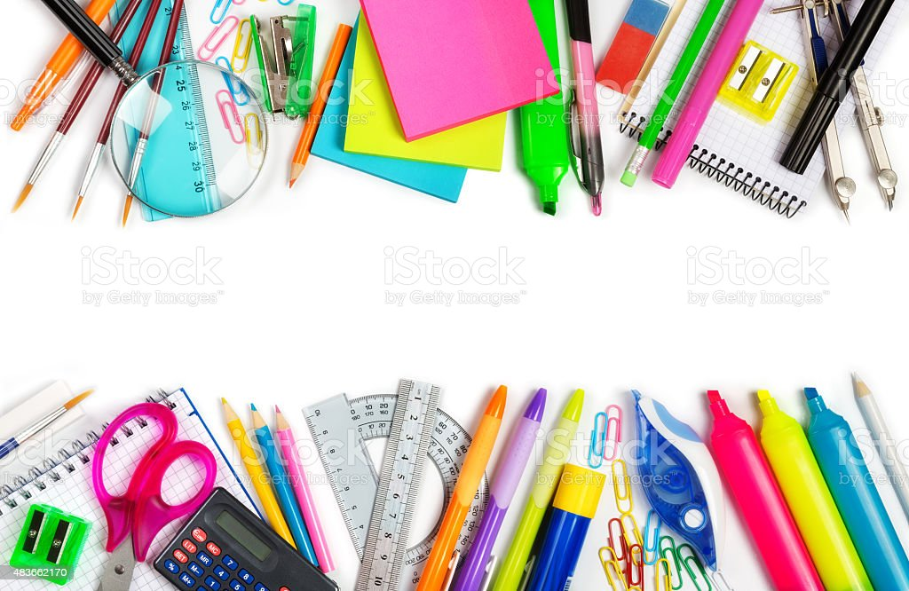 School supplies double border on white stock photo