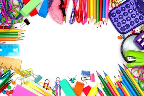 白い背景に学校供給フレーム - 学校の文房具 ストックフォトと画像