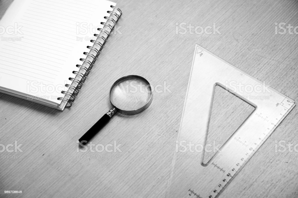 School Supplies in black and white stock photo