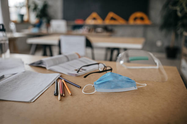 School supplies in time of virus stock photo