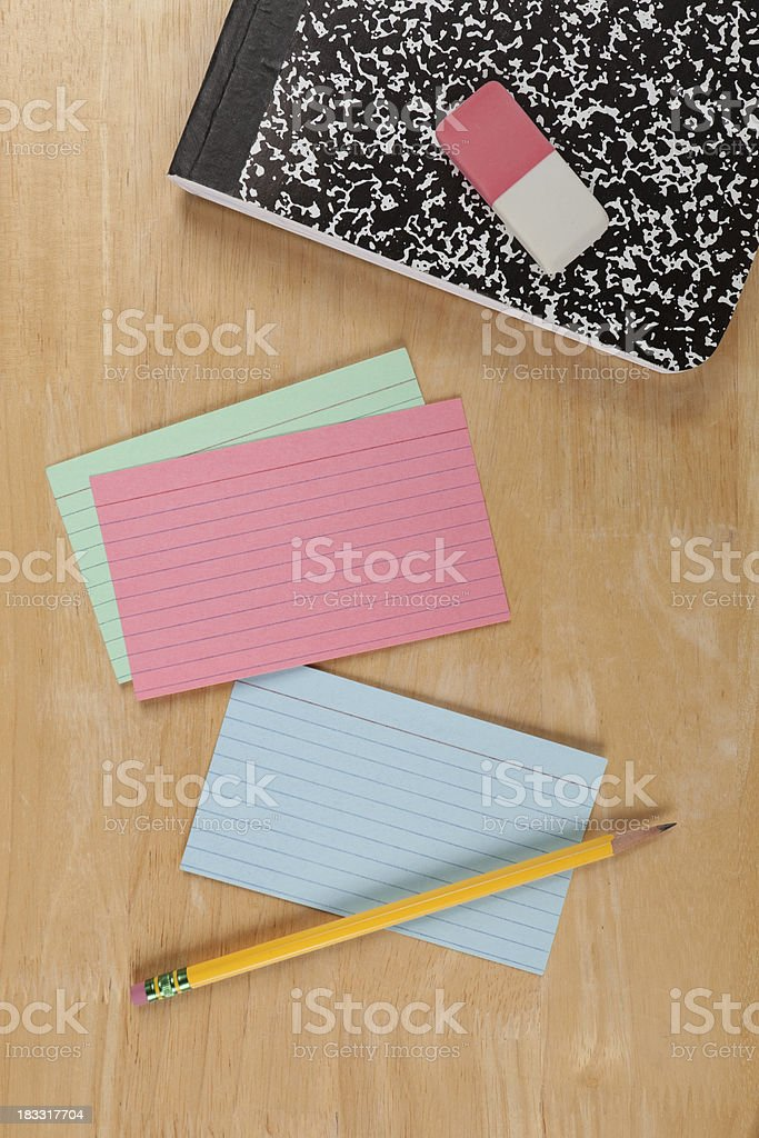 School Supplies & Index Cards royalty-free stock photo