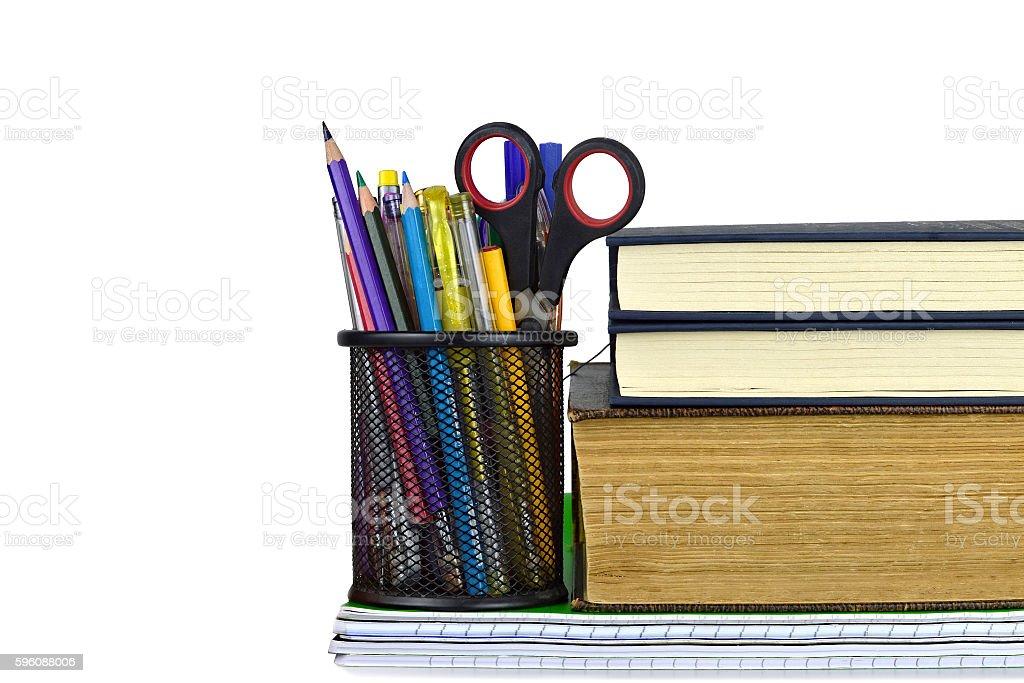 School supplies isolated on white royalty-free stock photo