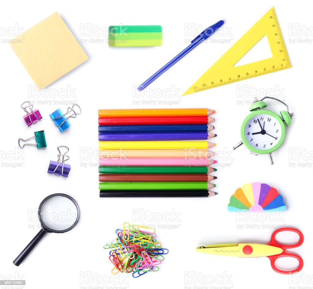 School supplies isolated on white. - Royalty-free Collection Stock Photo