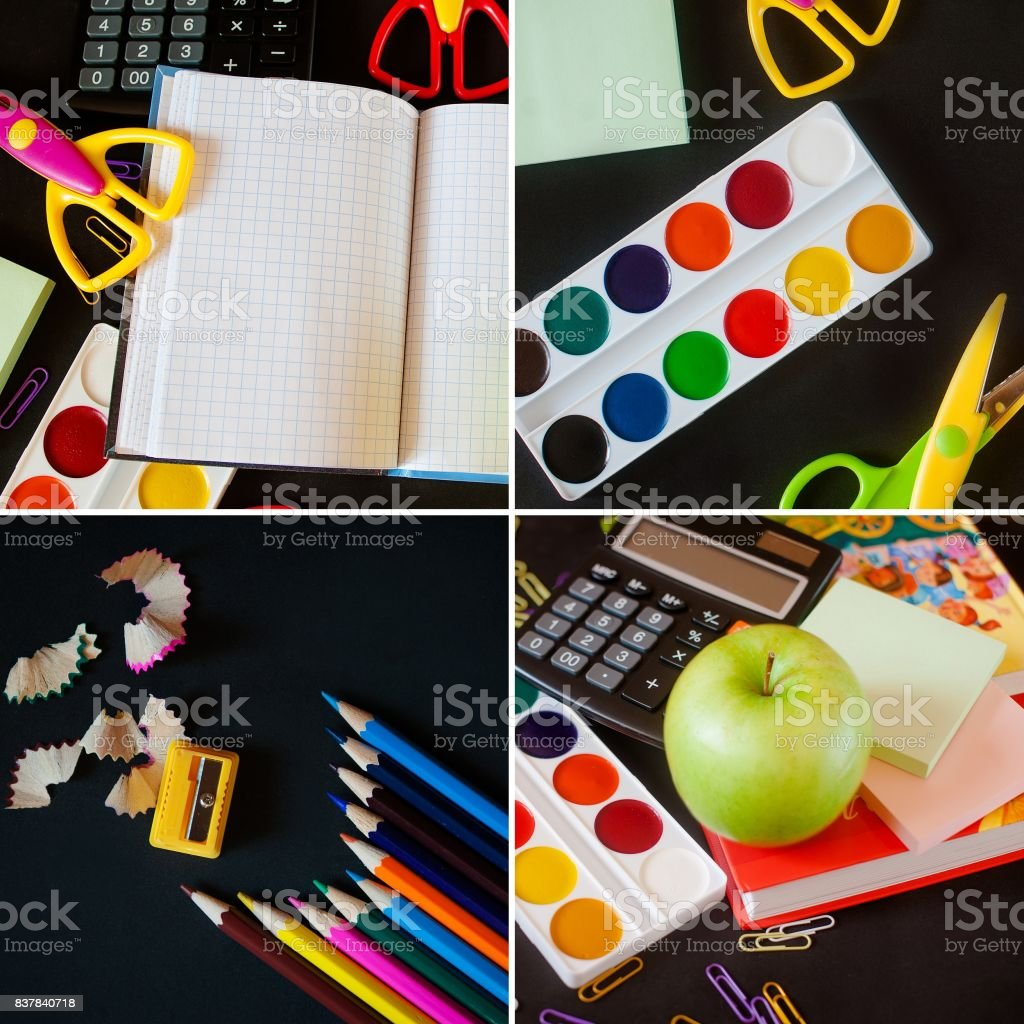 School supplies on blackboard background. back to school concept. collage stock photo