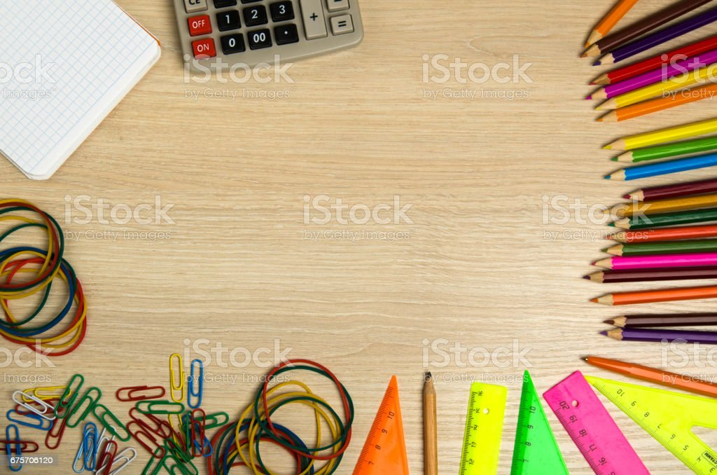 School supplies (pencil, pen, ruler, triangle) on blackboard background ready for your design .school supplies top view 免版稅 stock photo