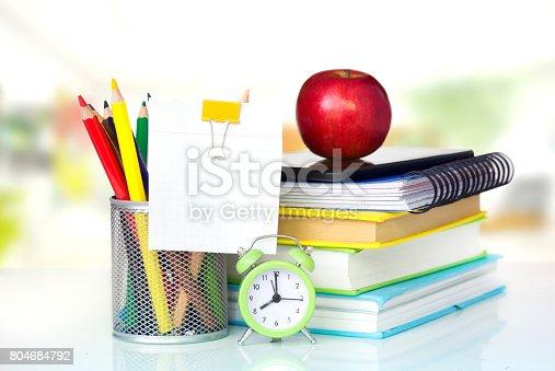 istock School supplies on table school concept design. 804684792