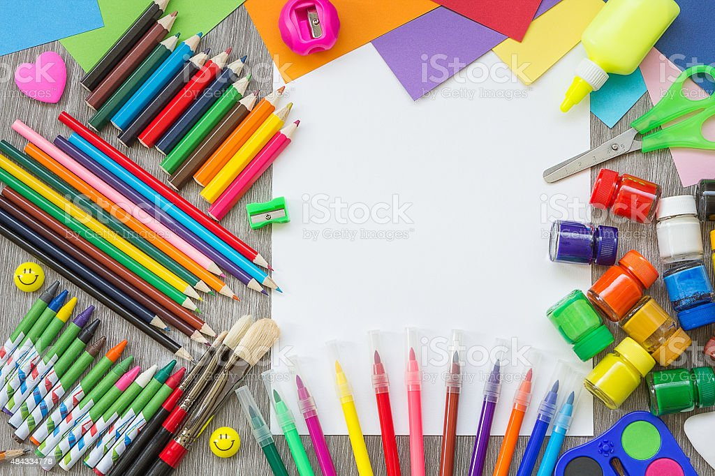 School supplies on the desk stock photo
