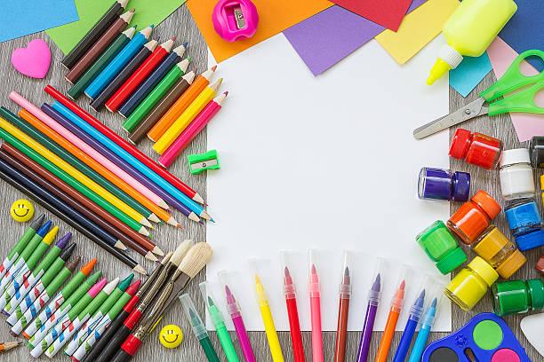 School supplies on the desk stock photo