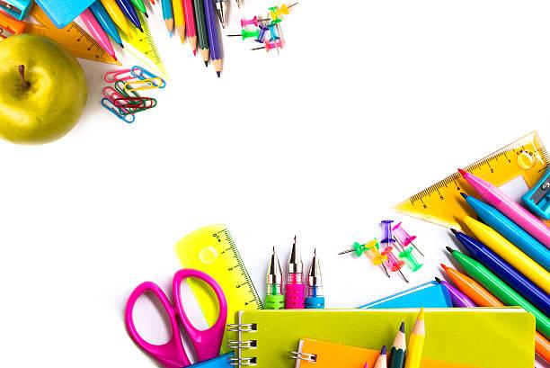 学校用品を白背景 - 学校の文房具 ストックフォトと画像