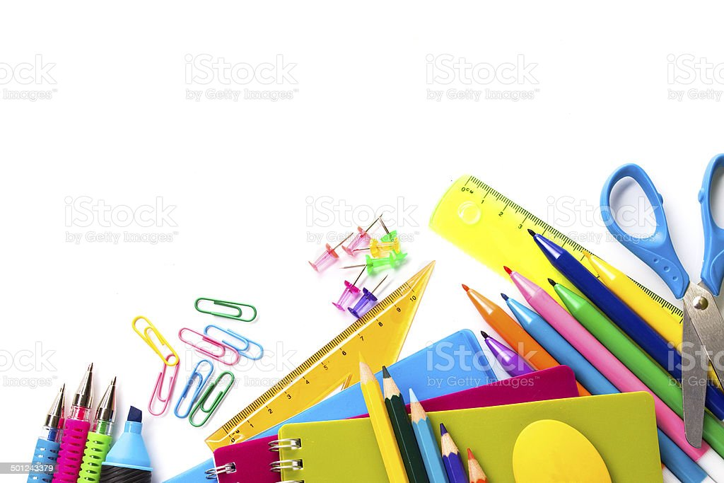 School Supplies On White Background Stock Photo Amp More