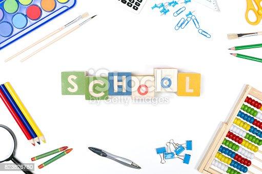 istock School supplies on white background 823826780