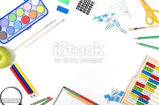 istock School supplies on white background 828191676