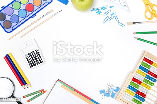 istock School supplies on white background 835885530
