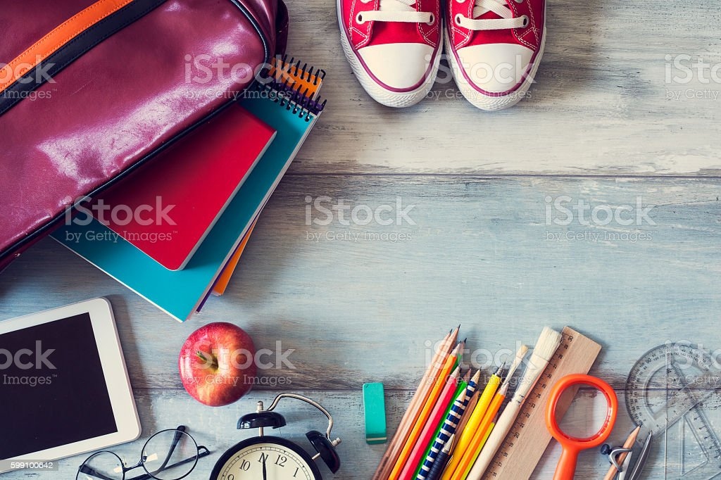 School supplies on wooden background royalty-free stock photo