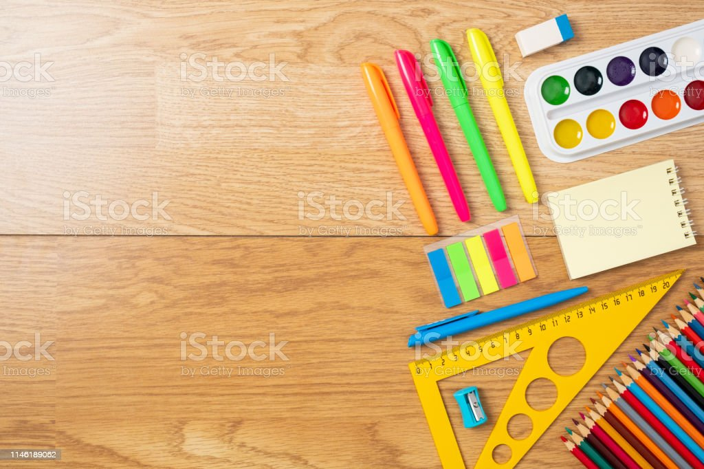 School Supplies On Wooden Table Education Studying And Back ...